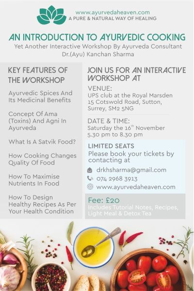 AYURVEDA COOKING WORKSHOP
